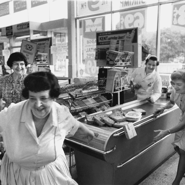 Vintage photo of woman in shopping checkout line
